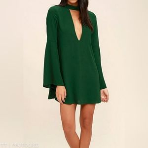 NWOT Lulus Deeply in Love green shift dress